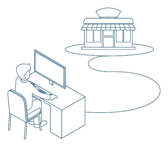 Illustration of a person using EdgePay to get information about his business