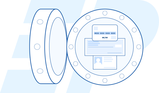Illustration of a vault containing credit card and other sensitive information